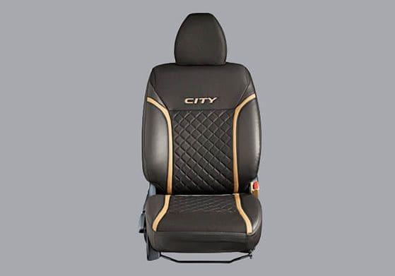Seat Cover PVC Black w/fabric Cross Stitch