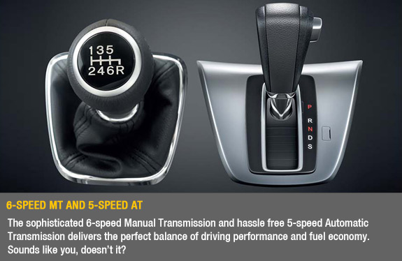 6-Speed MT and 5-Speed AT